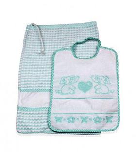 Set Asilo Scuola Materna 2 Pezzi Sacchetto Bavaglia con Tela Aida Da Ricamare 100% Cotone Made in Italy Colore Rosa Animalett