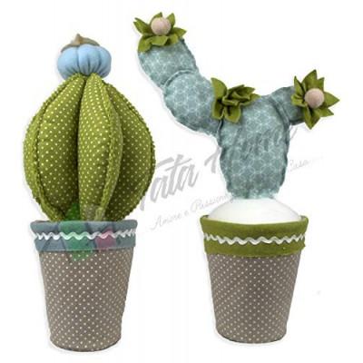 Cactus Coppia Fermaporta Decorativi in Stoffa Altezza 35 cm