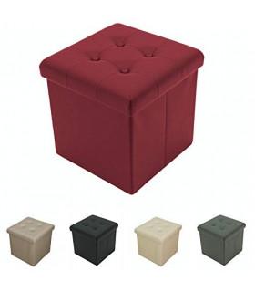 Tata Home Pouf Contenitore Poggiapiedi Ecopelle Bottoni Portaoggetti Scatola Cubo Pieghevole Salvaspazio Misura cm 38x38x39 C